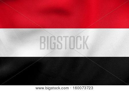 Flag Of Yemen Waving, Real Fabric Texture