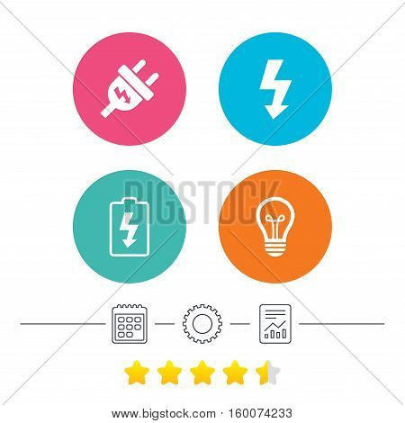 Electric plug icon. Lamp bulb and battery symbols. Low electricity and idea signs. Calendar, cogwheel and report linear icons. Star vote ranking. Vector