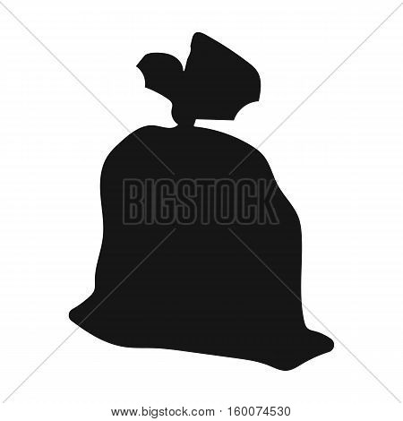Garbage bag icon in black style isolated on white background. Trash and garbage symbol vector illustration.