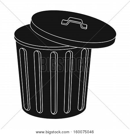 Trash can icon in black style isolated on white background. Trash and garbage symbol vector illustration.