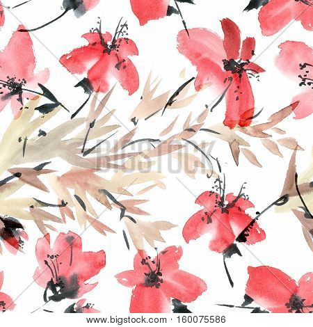 Watercolor and ink illustration of blossom tree. Sumi-e u-sin painting. Seamless pattern.