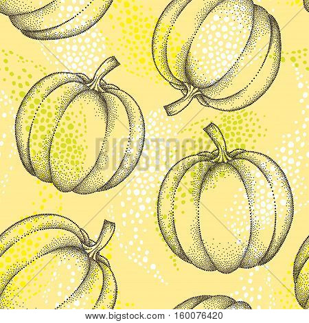 Vector seamless pattern with dotted pumpkin or gourd in black on the yellow background. Fruits elements in dotwork style. Nature background with decorative dotted pumpkin for autumn design.