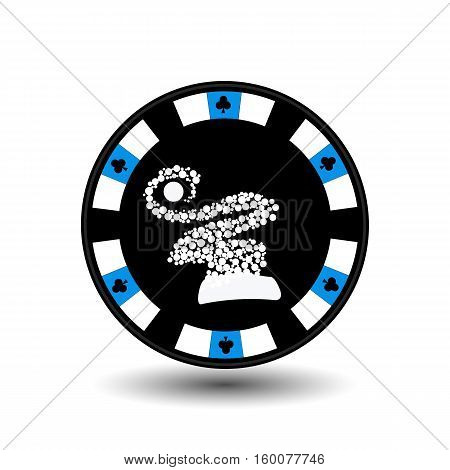 chip poker casino Christmas new year. Icon vector illustration EPS 10 on white easy to separate the background. To use for sites design decoration printing etc. In the middle of the hood snowflakes on blue chip