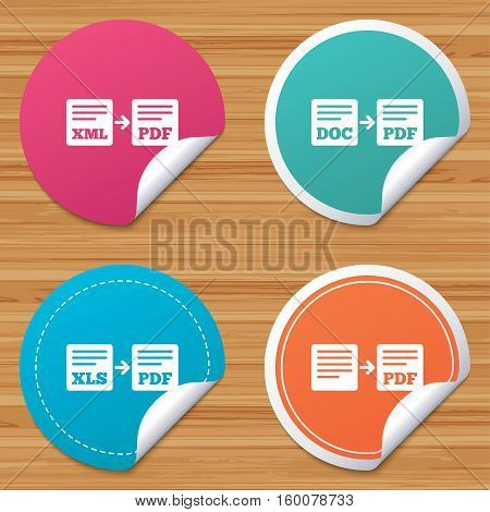 Round stickers or website banners. Export file icons. Convert DOC to PDF, XML to PDF symbols. XLS to PDF with arrow sign. Circle badges with bended corner. Vector