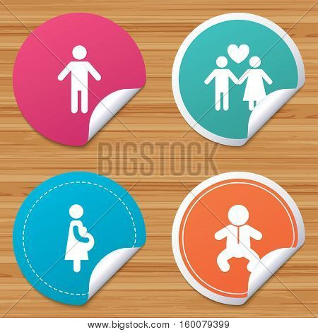 Round stickers or website banners. Family lifetime icons. Couple love, pregnancy and birth of a child symbols. Human male person sign. Circle badges with bended corner. Vector