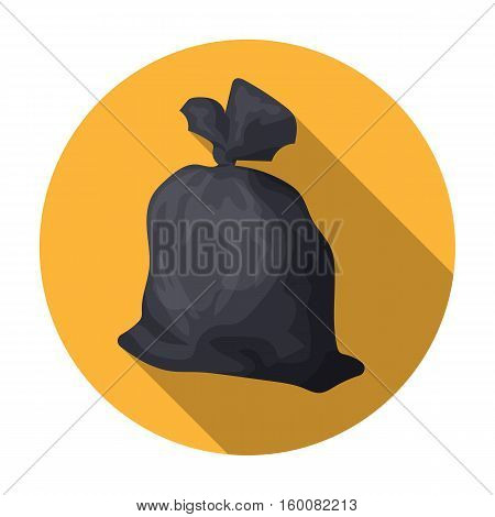 Garbage bag icon in flat style isolated on white background. Trash and garbage symbol vector illustration.