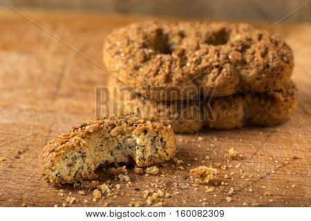 Homemade buckwheat flour cookies with brown sugar on wooden background