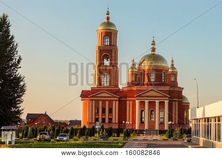 District center Stroitel in Belgorod region. Current orthodox church in honor of the New Martyrs and Confessors of Belgorod. The temple with a bell tower.