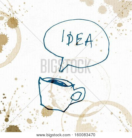 Coffee cup with Idea word. Creative concept. Hand drawn illustration