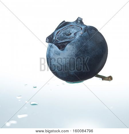 Extreme close-up image of blueberries on white background