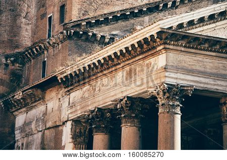 Details of Pantheon in Rome, Italy. Close-up.