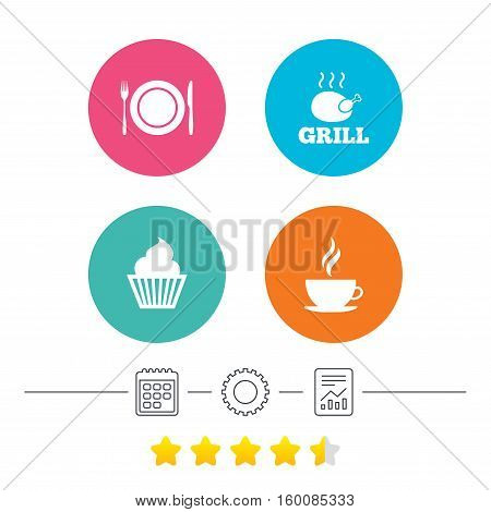 Food and drink icons. Muffin cupcake symbol. Plate dish with fork and knife sign. Hot coffee cup. Calendar, cogwheel and report linear icons. Star vote ranking. Vector