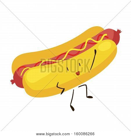 Funny fast food hot dog icon. Vector illustration for restaurant menu design. Hotdog cartoon comic character. Sausage, mustard, bunery isolated on white background. American unhealthy diet lunch