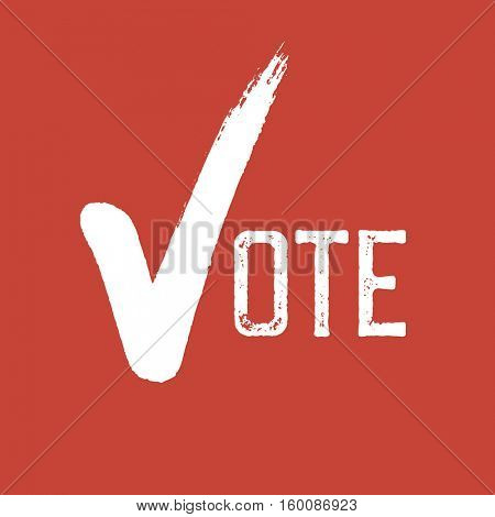 Voting Symbol. On red background