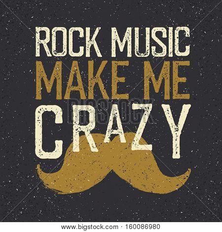 Vintage Rock Music label mustache.