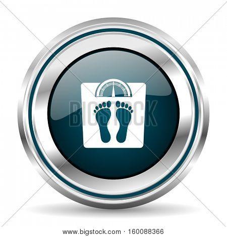 Weight vector icon. Chrome border round web button. Silver metallic pushbutton.