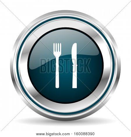 Restaurant vector icon. Chrome border round web button. Silver metallic pushbutton.