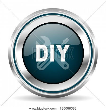 DIY vector icon. Chrome border round web button. Silver metallic pushbutton.