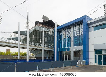 NEW YORK CITY - MAY 1 2016: Entrance of the Intrepid museum in Manhattan. New York City's Intrepid Sea Air & Space Museum Complex is an educational and cultural non-profit institution centered on the aircraft carrier Intrepid