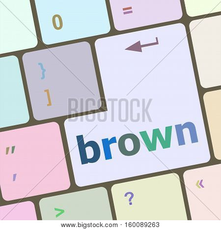 brown word on keyboard key icon button