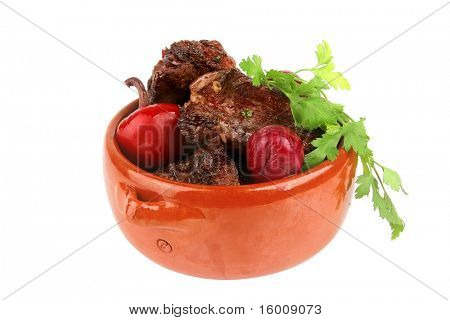 roast beef meat in pot with vegetables