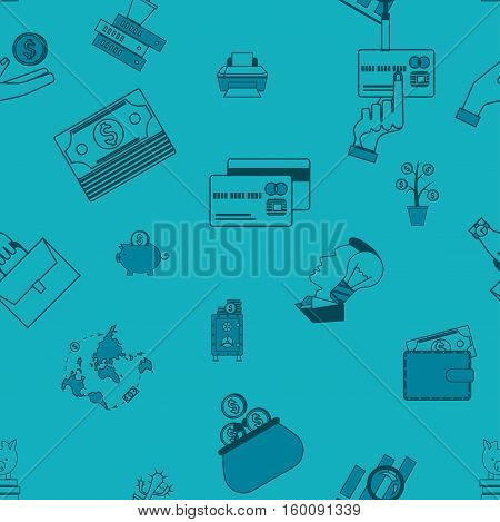 Business and Finance Seamless Pattern. Simple and Minimalistic Style