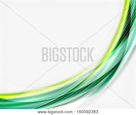 Glossy wave on white space. Business message or slogan background