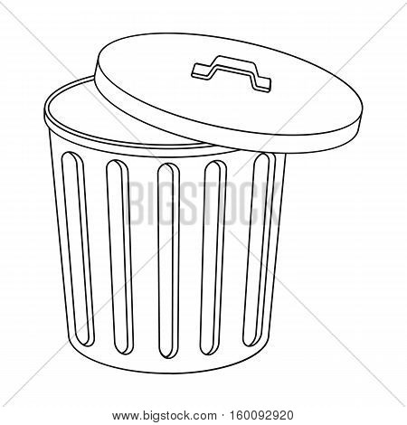 Trash can icon in outline style isolated on white background. Trash and garbage symbol vector illustration.