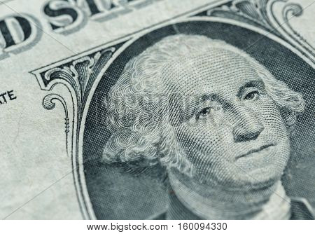 George Washington portrait on the us one dollar bill macro united states money closeup