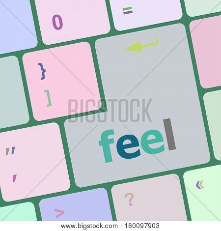 Feel Word On Keyboard Key, Notebook Computer Button