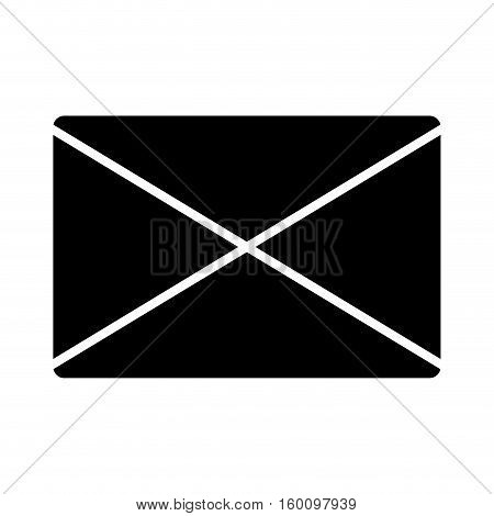 Email black isolated icon over white background, vector illustration.