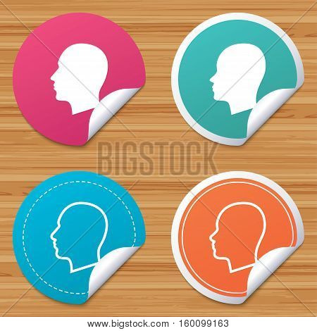 Round stickers or website banners. Head icons. Male and female human sign symbols. Circle badges with bended corner. Vector