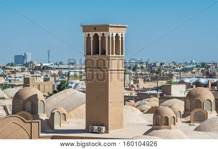 Aerial view with characteristc wind catcher tower in Kashan Iran