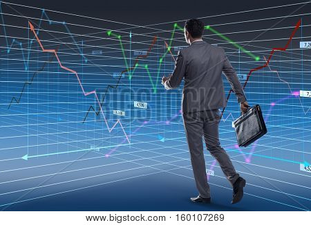 Businessman walking in business concept
