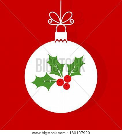 Christmas bauble with holly berry ornament illustration