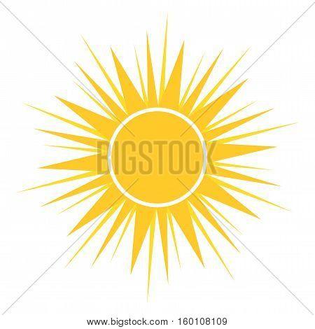Yellow flat design sun icon illustration isolated