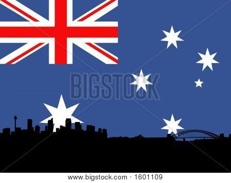 Sydney Skyline With Australian Flag