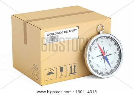 shipping and delivery concept parcel and compass. 3D rendering isolated on white background