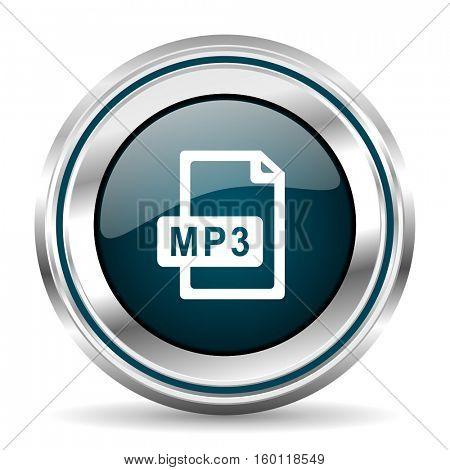 MP3 vector icon. Chrome border round web button. Silver metallic pushbutton.