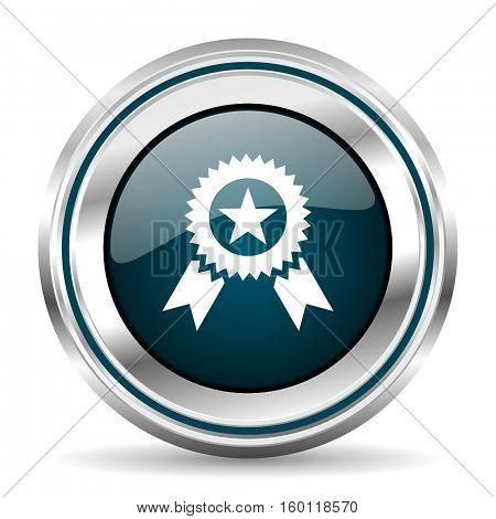 Winner vector icon. Chrome border round web button. Silver metallic pushbutton.