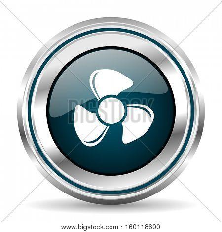 Fan vector icon. Chrome border round web button. Silver metallic pushbutton.