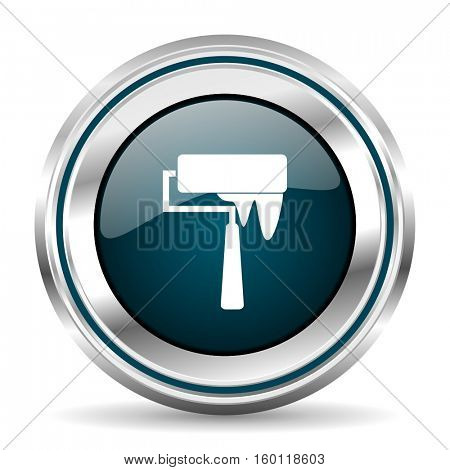 Brush vector icon. Chrome border round web button. Silver metallic pushbutton.