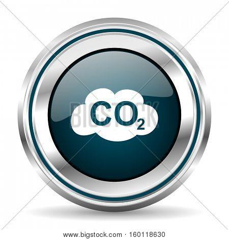 Carbon dioxide vector icon. Chrome border round web button. Silver metallic pushbutton.