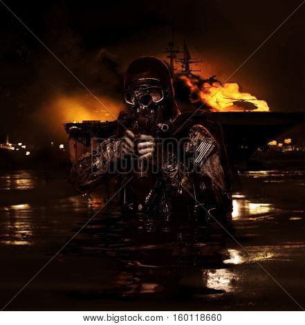 Navy frogman with complete diving gear and weapons