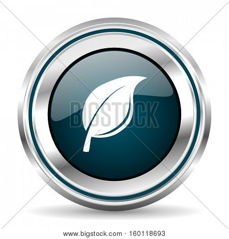 Ecology vector icon. Chrome border round web button. Silver metallic pushbutton.
