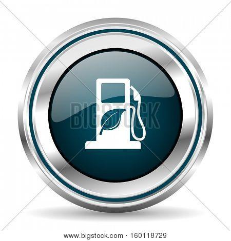 Biofuel vector icon. Chrome border round web button. Silver metallic pushbutton.