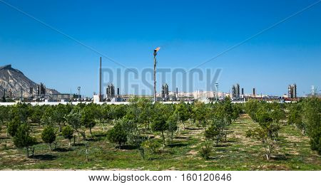 BAKU, AZERBEIJAN-OCT 5, 2016: Bureau of gas in Industrial zone. The equipment of gas refining near Baku, Azerbeijan.