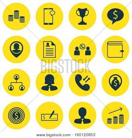 Set Of 16 Hr Icons. Can Be Used For Web, Mobile, UI And Infographic Design. Includes Elements Such As Prize, Chat, Success And More.