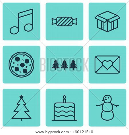 Set Of 9 Celebration Icons. Can Be Used For Web, Mobile, UI And Infographic Design. Includes Elements Such As Box, Envelope, Meal And More.