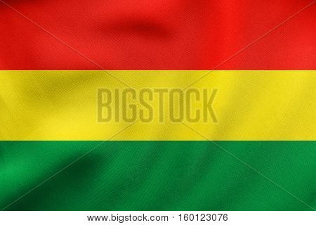 Flag Of Bolivia Waving, Real Fabric Texture